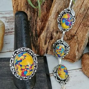 Jewelry - Artisan Boho Calsilica Ring & Bracelet Set